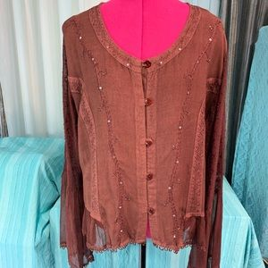 More by Lata Sequined Boho Top NWT